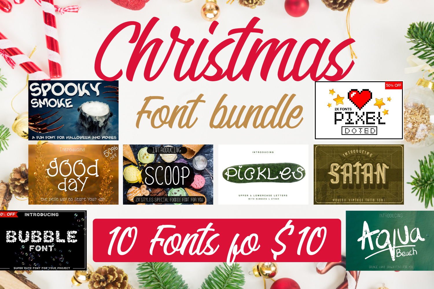 10 Fonts Christmas 2019 Blessed Bundle example image 1