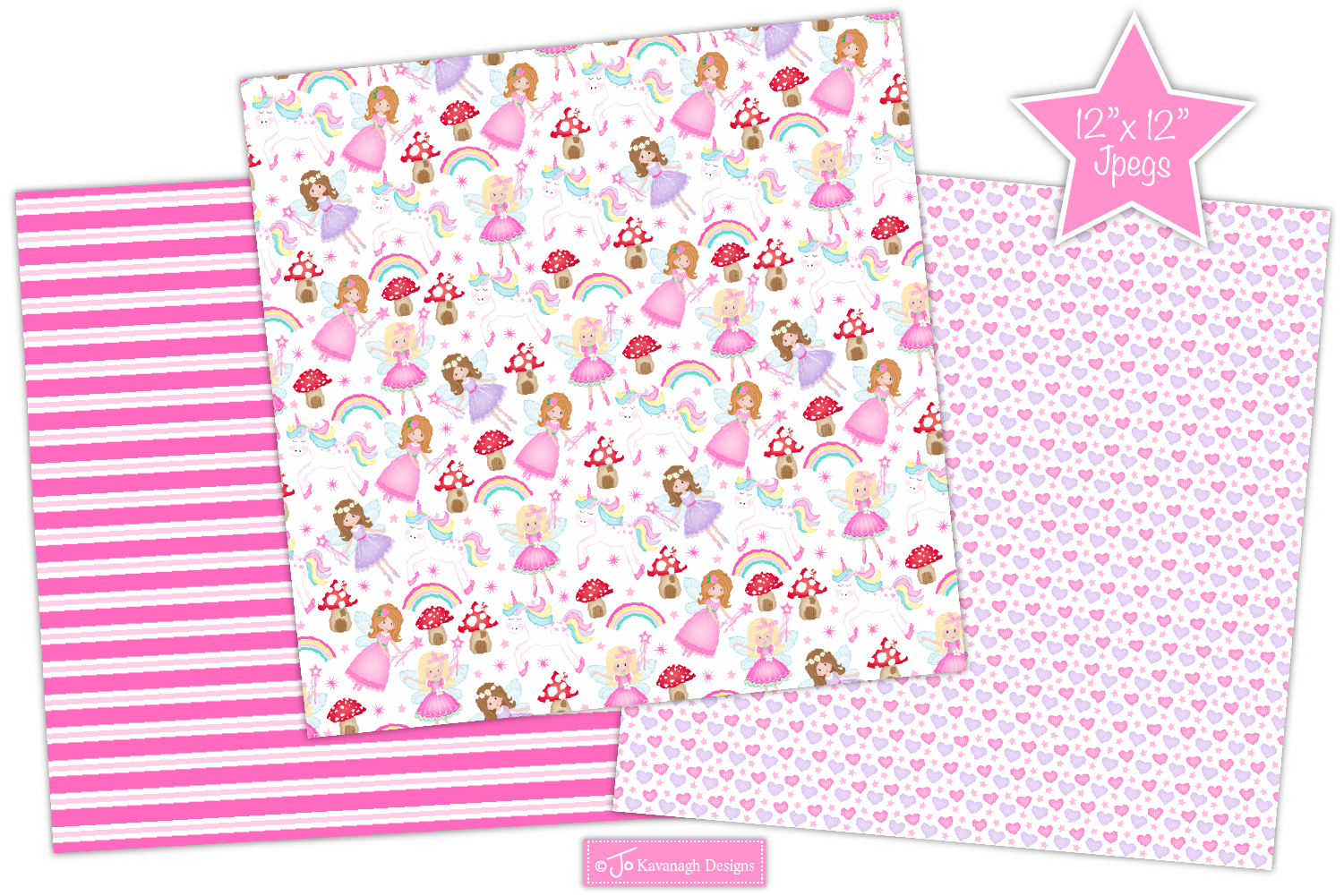 Fairy digital papers, Unicorn patterns, Fairies -P10 example image 4
