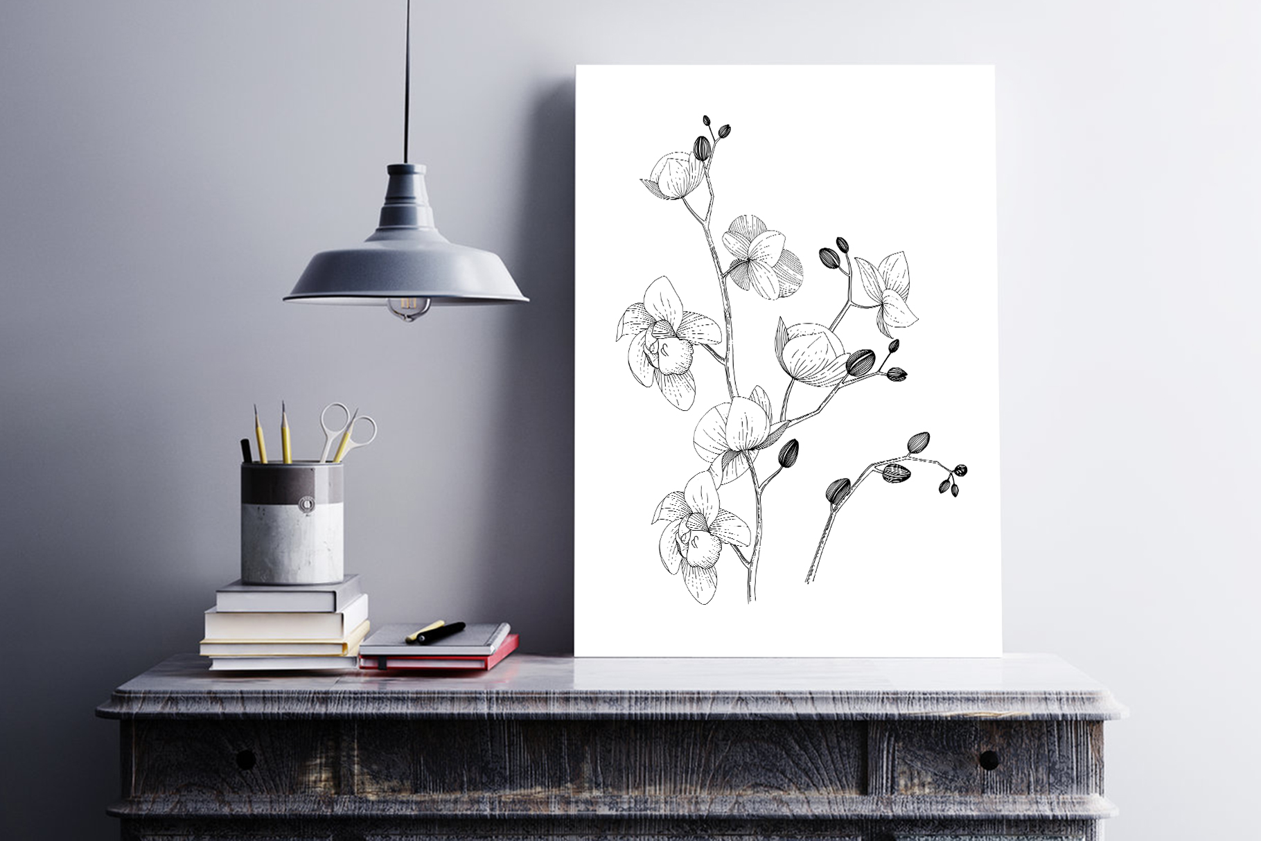 Branch of Orchids vector watercolor example image 4