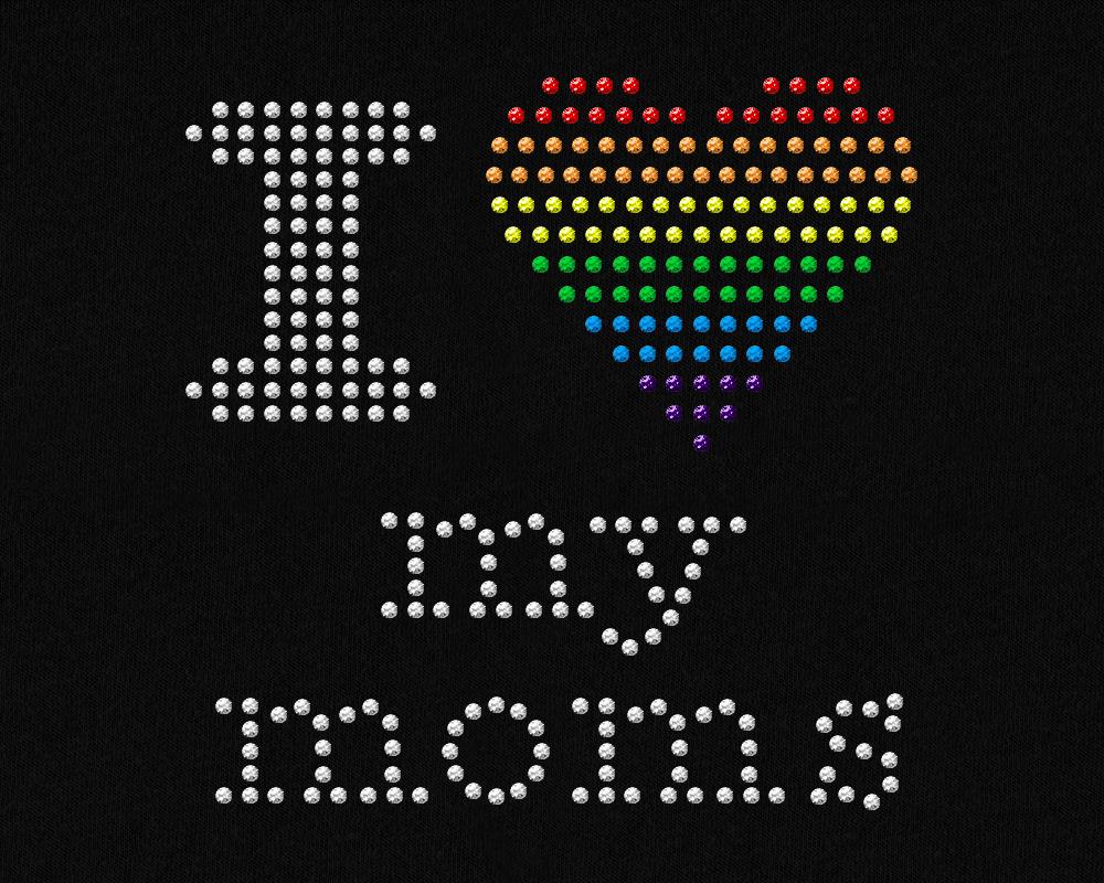 Rhinestone LGBT Parents Pride Heart SVG Template Set example image 3