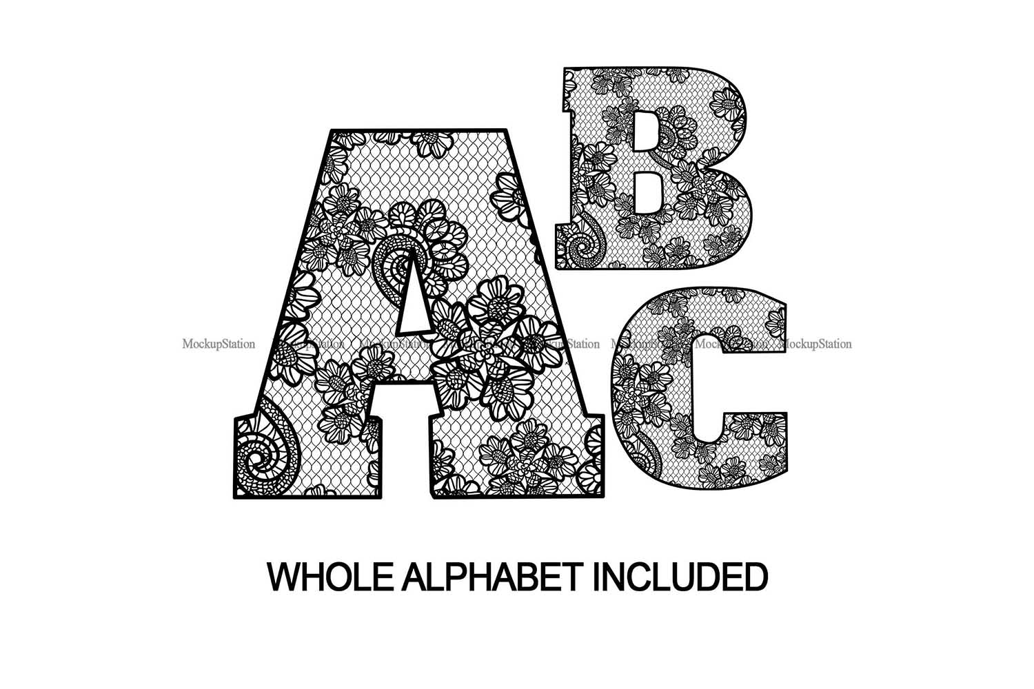 Sublimation Letters Design, Lace Font Alphabet And Numbers example image 1