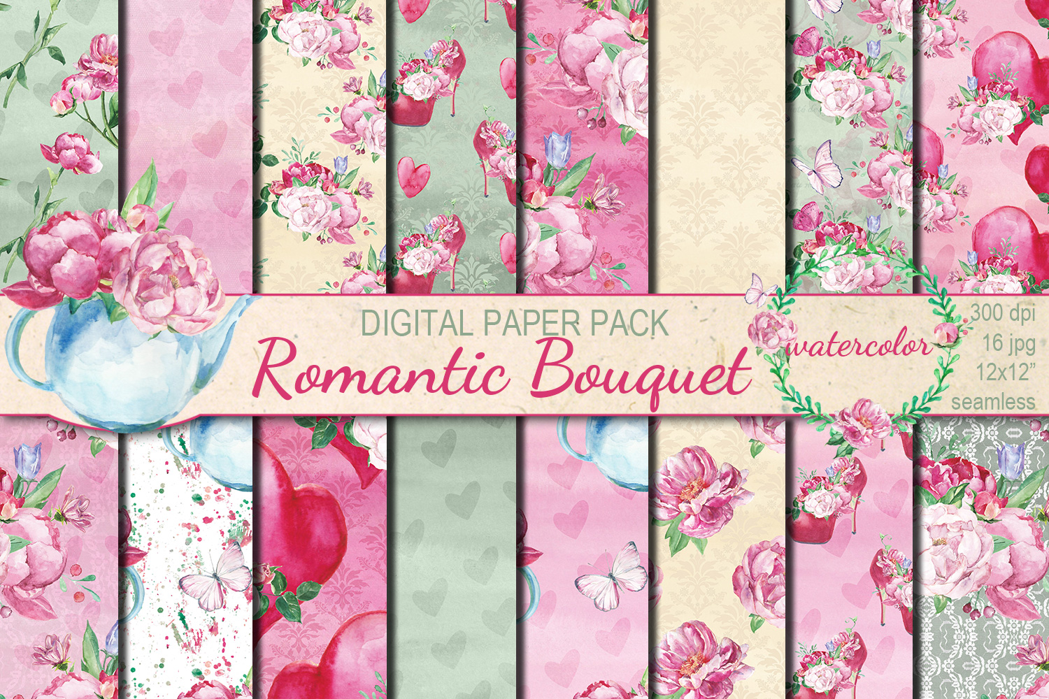 Watercolor Romantic Bouquet seamless digital paper pack example image 1