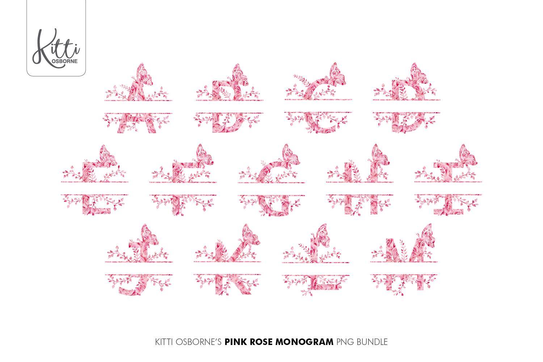 Pink Rose Alphabet PNG Bundle example image 3