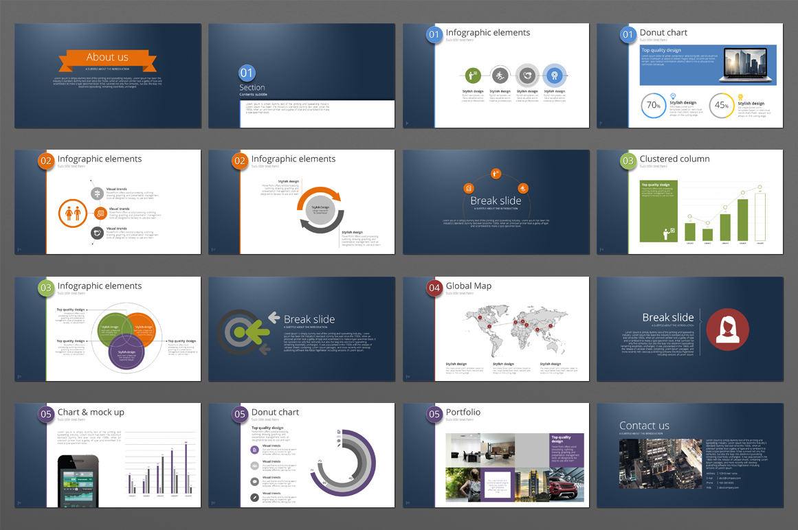Five Color Powerpoint Template example image 4