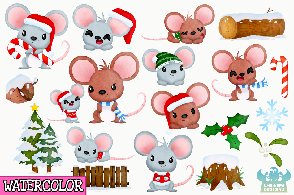 Christmas Mice Watercolor Clipart, Instant Download example image 2