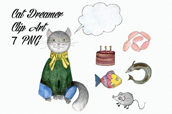 Watercolor Cat Dreamer Clip Art example image 1