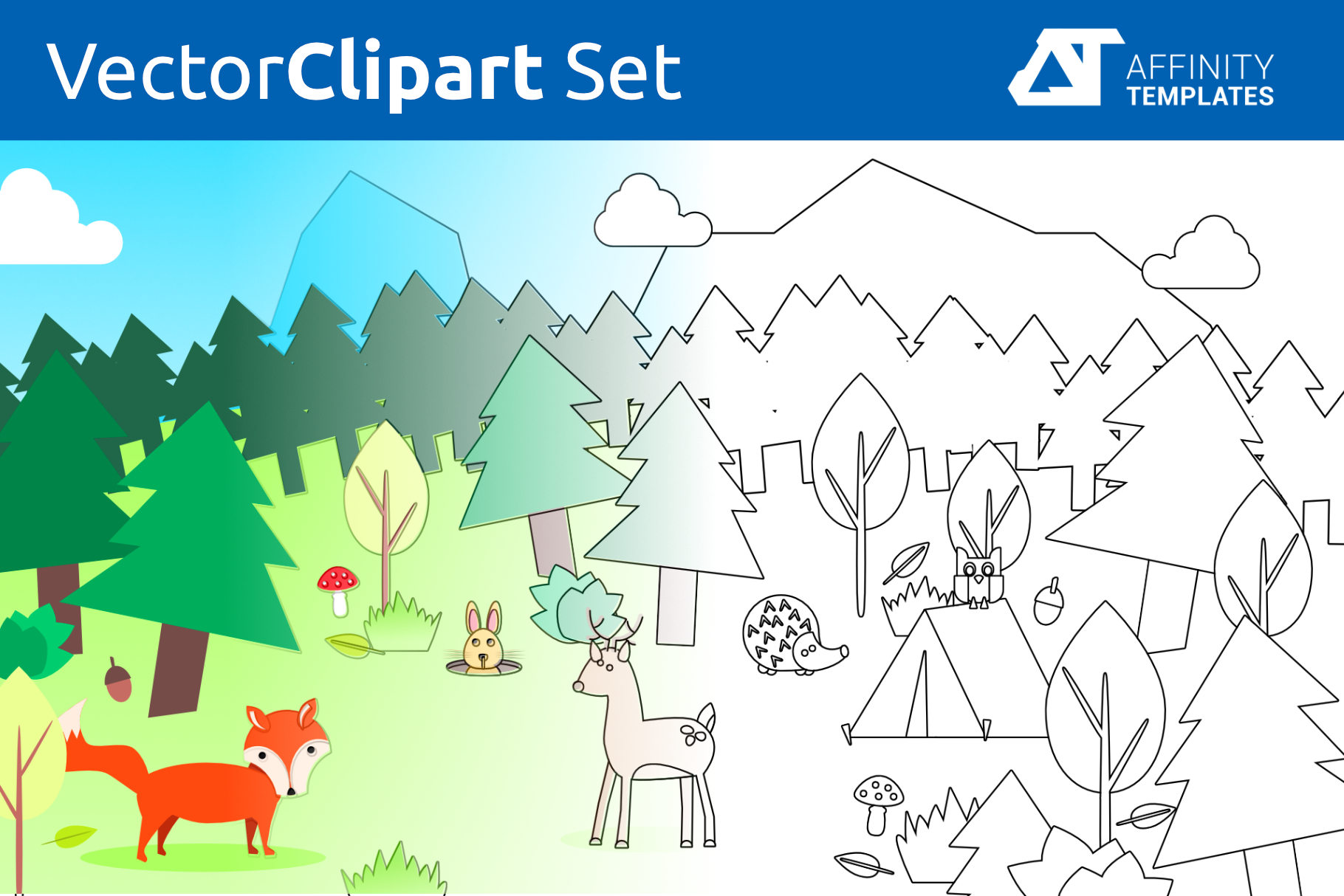 Forest Clip Arts for kindergarten Vector SVG example image 3