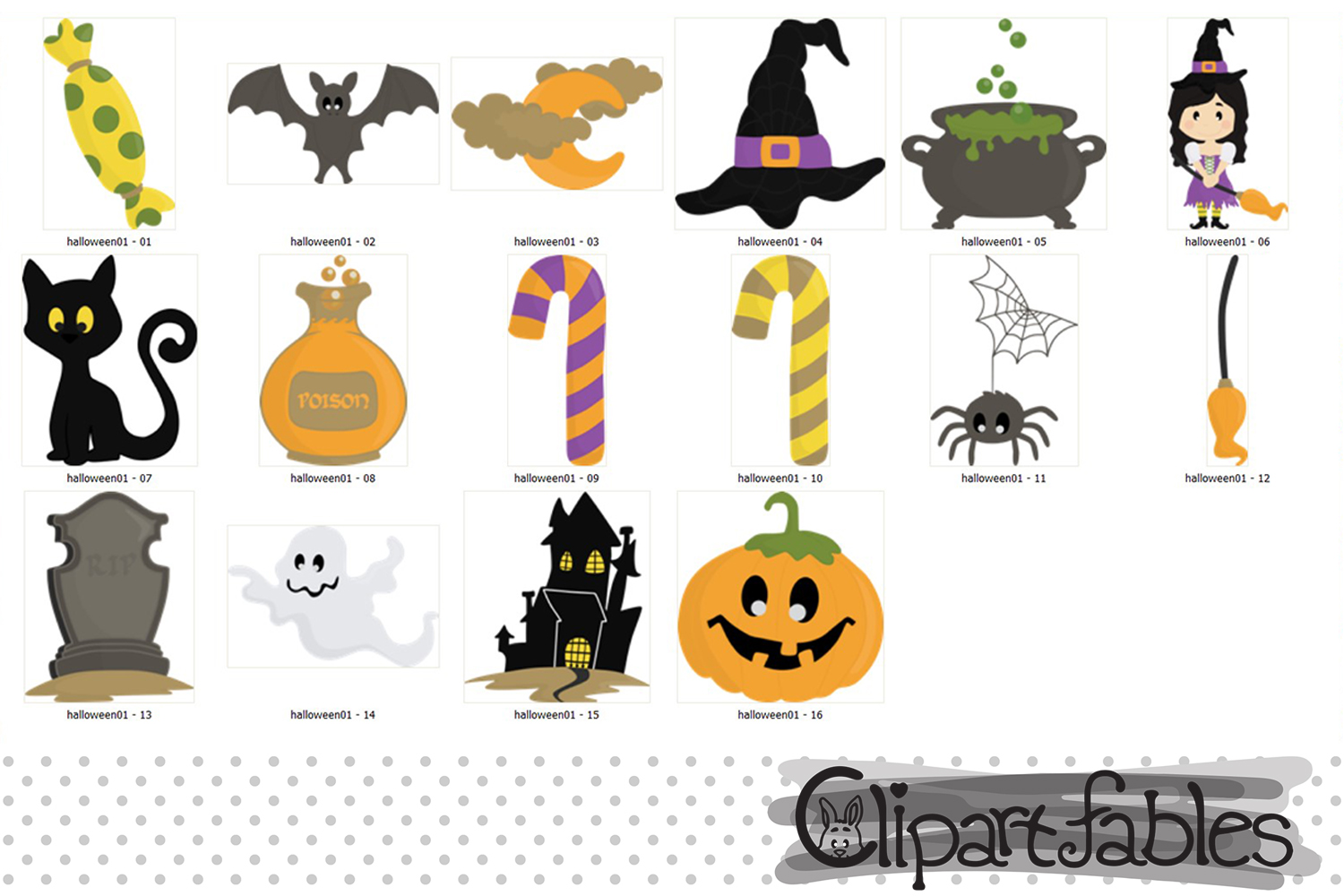 Halloween clipart package, Trick or Treat, Cute spooky art example image 2