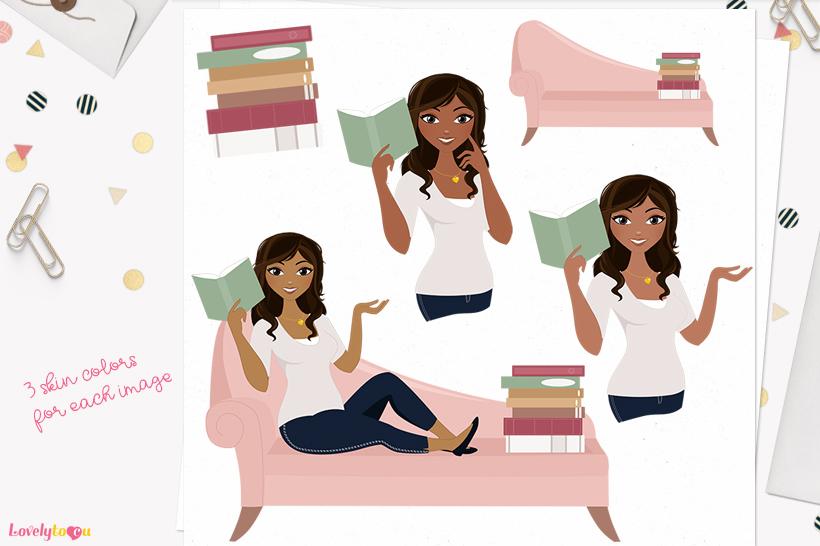 Woman teacher character clip art L148 Bliss example image 1