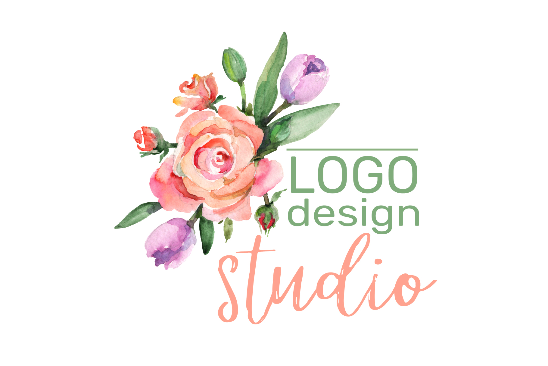 LOGO with roses and narcissus Watercolor png example image 4