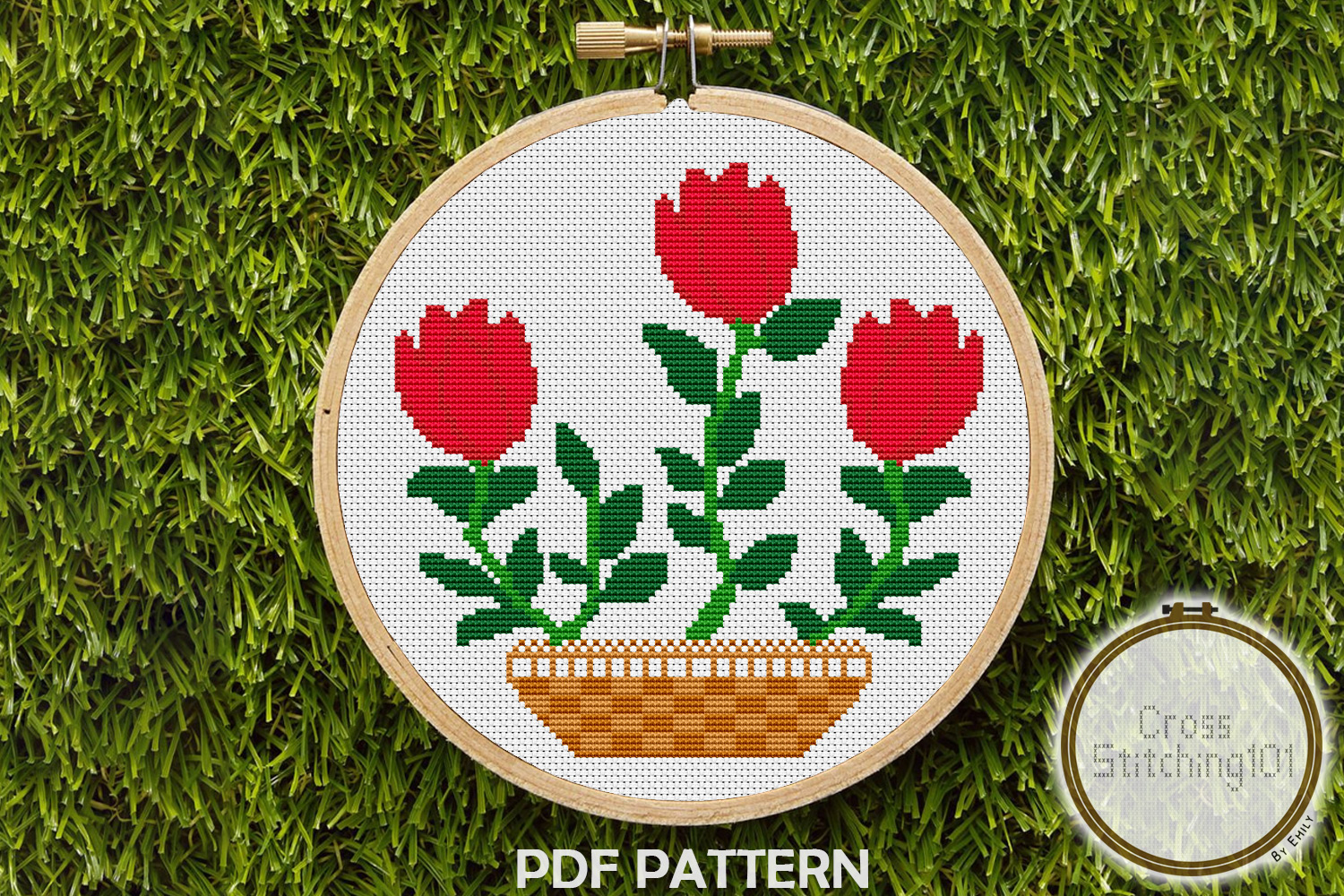 Rose Flower Pot Cross Stitch Pattern - Instant Download PDF example image 1