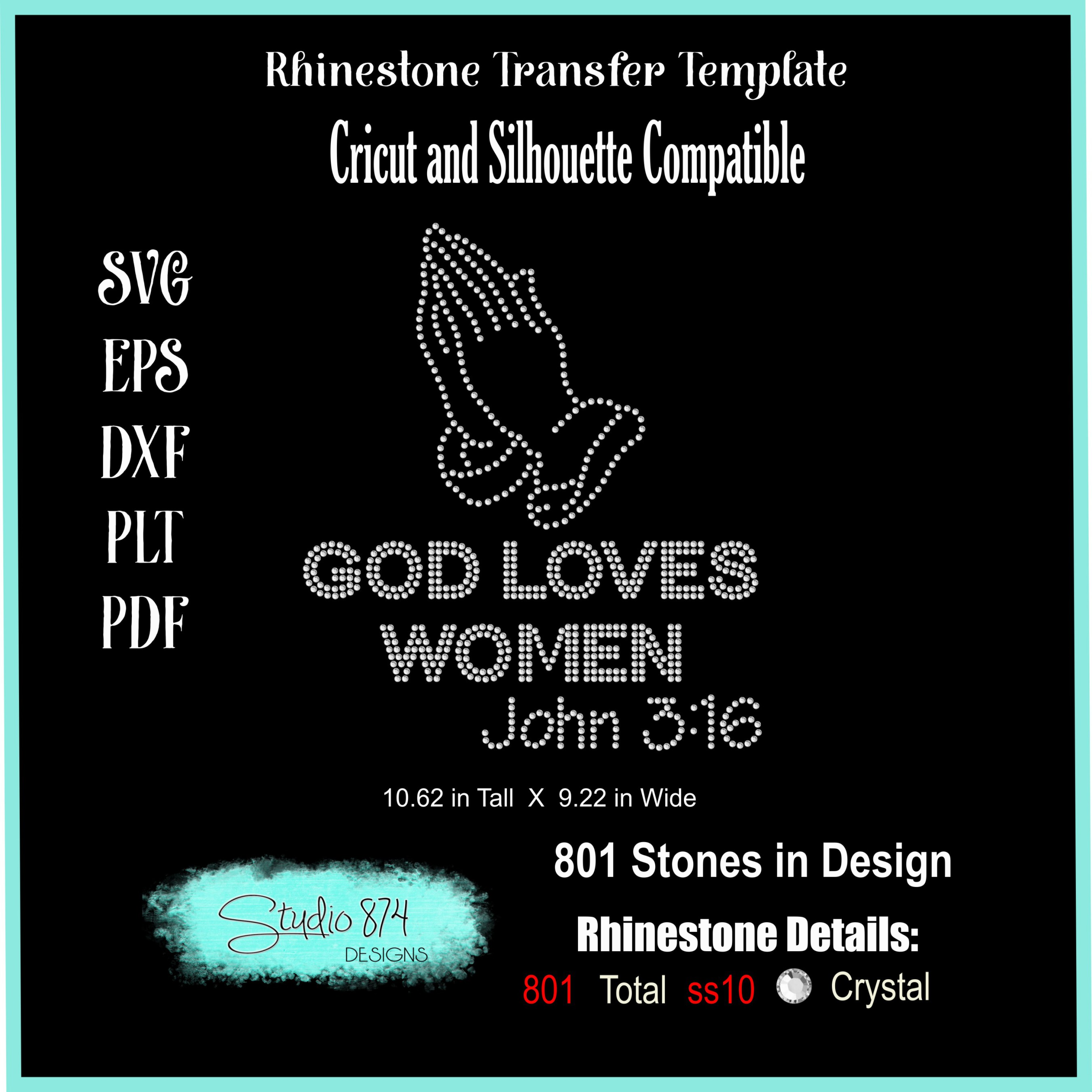 Faith Religious Rhinestone SVG Template - God Loves Women example image 3