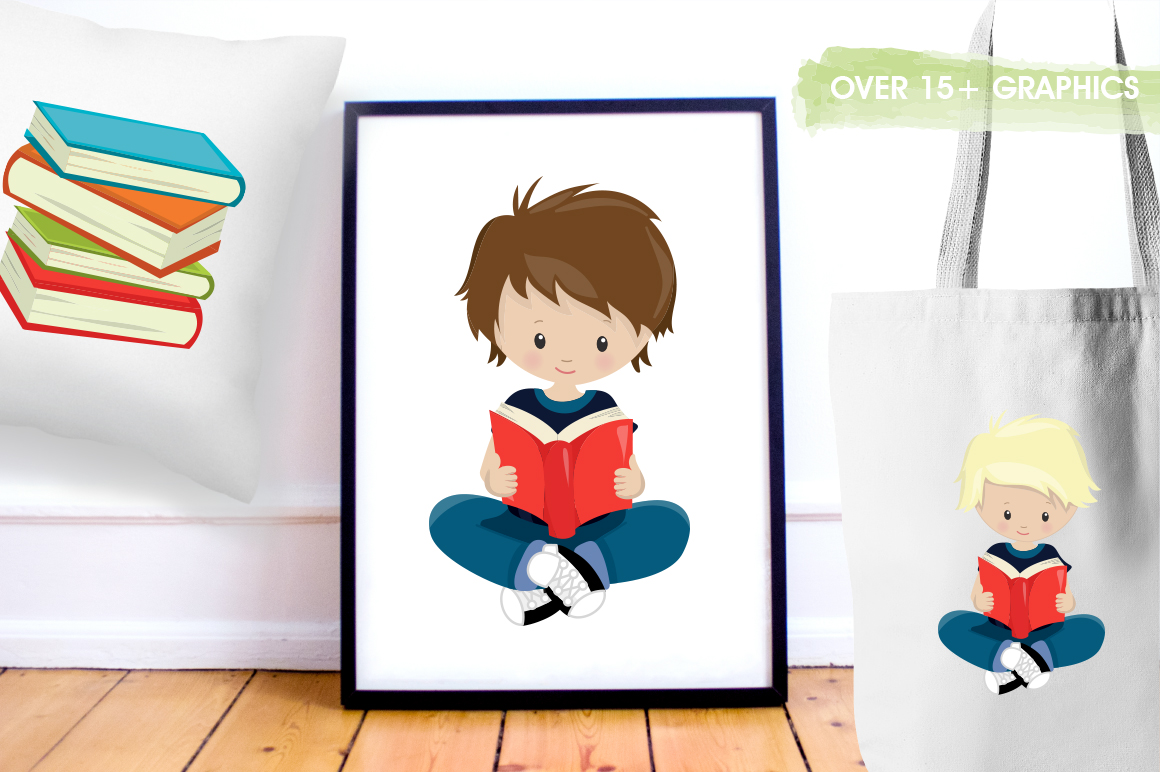 Reading Kids graphic and illustrations example image 4