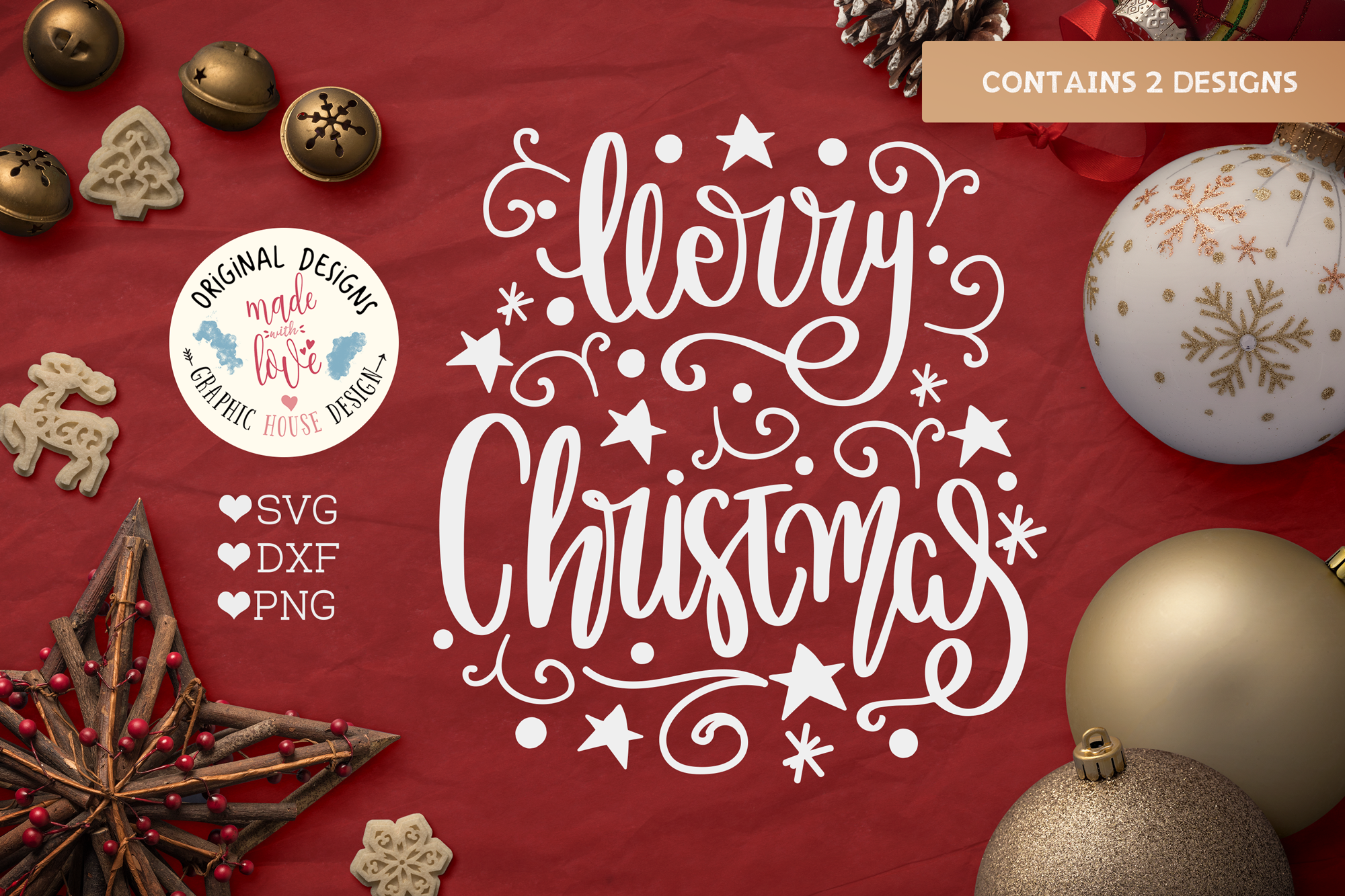 Merry Christmas & Merry n Bright - Christmas Cut File example image 2
