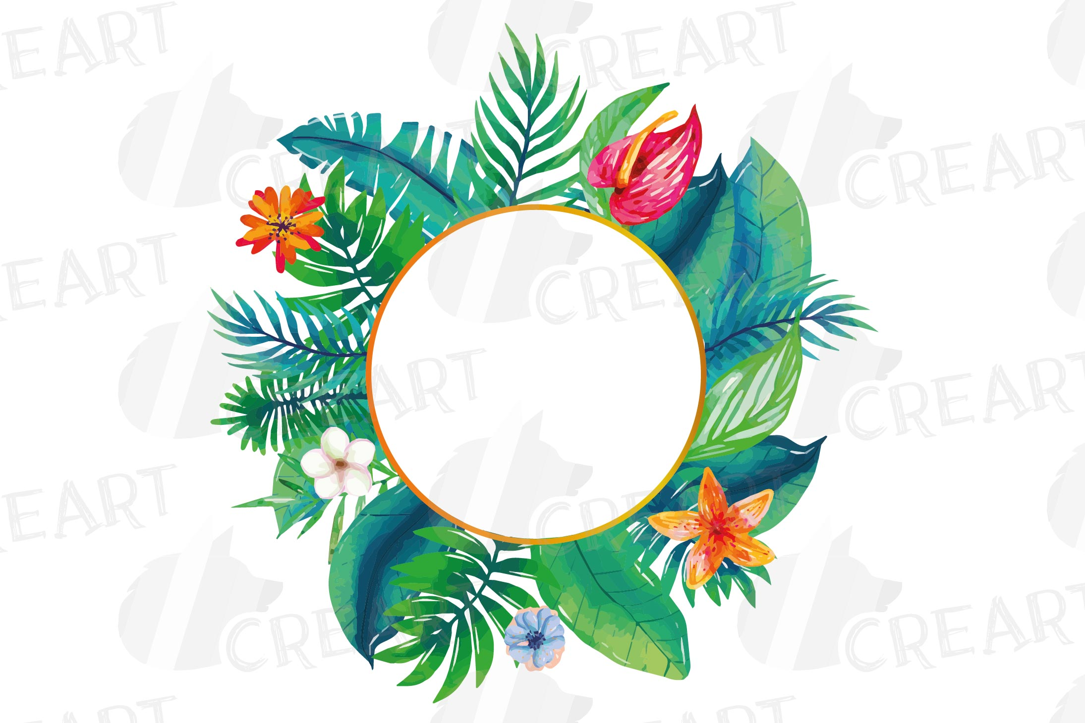 Watercolor tropical navy blue and green exotic floral frames example image 20