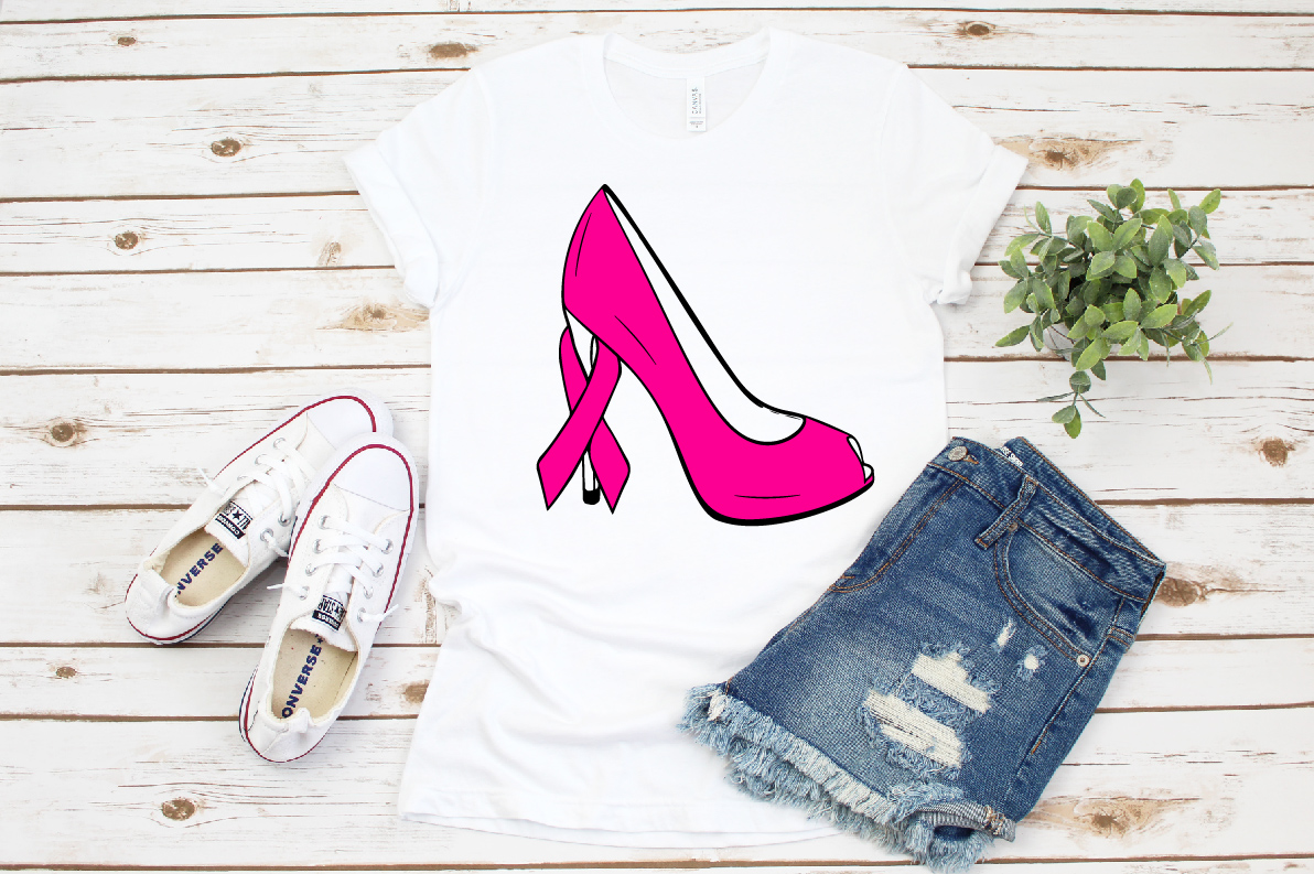 High heels, Pink Ribbon svg example image 1