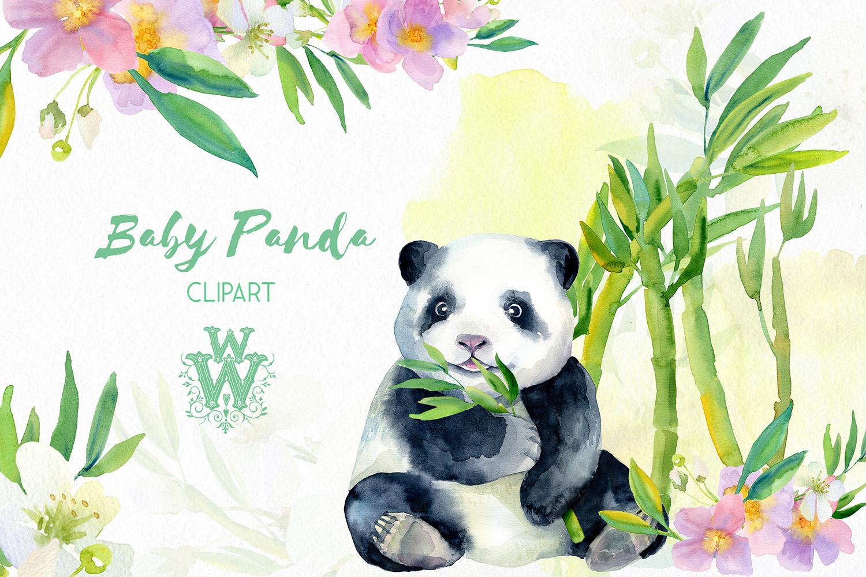 Watercolor baby panda bear clipart, bamboo, cute animal art