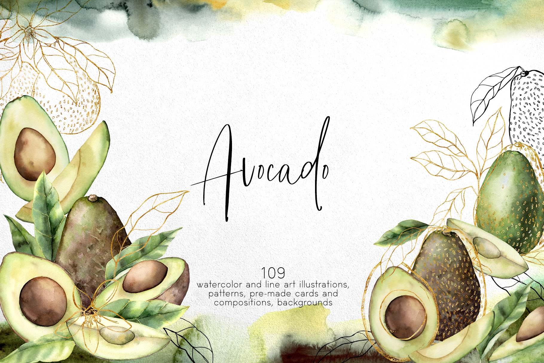 Avocado. Graphic collection example image 1