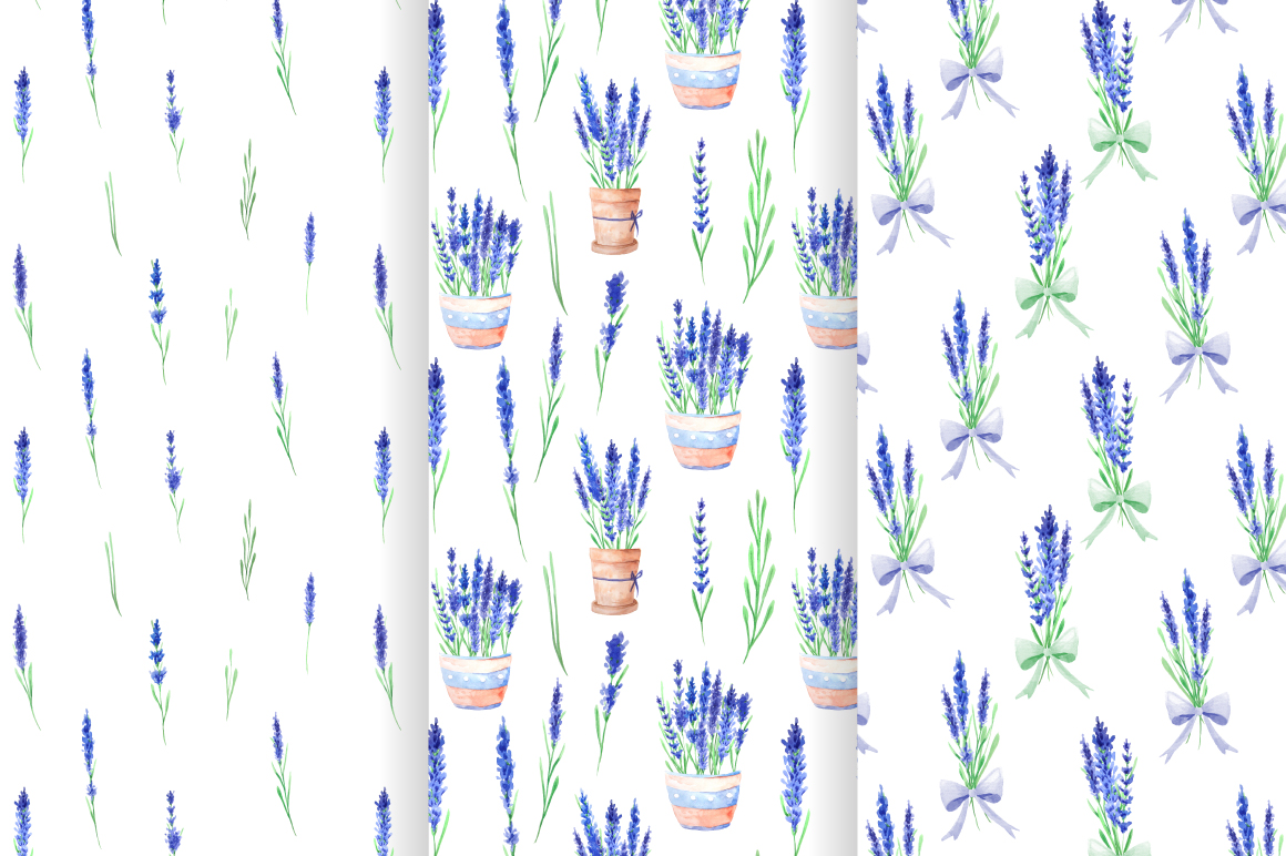 Lavender Watercolor Seamless Patterns example image 4