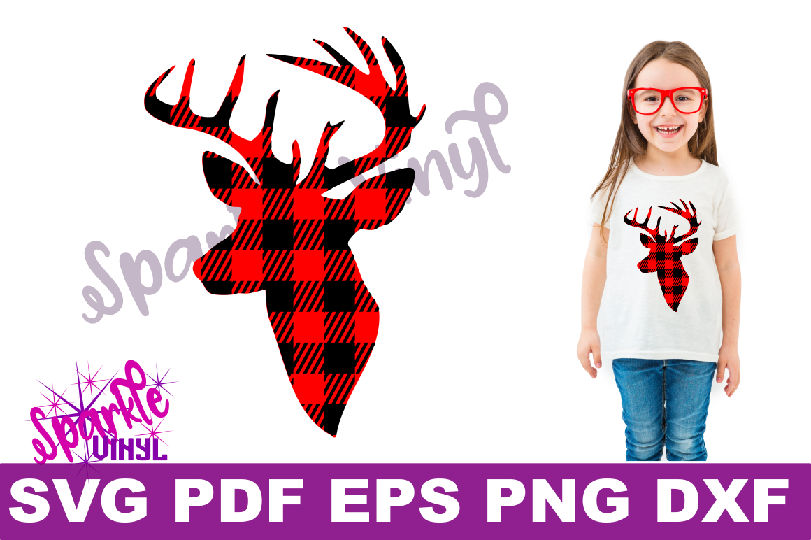 Buffalo Plaid Reindeer Deer Head Silhouette Printable svg cut files for silhouette or cricut example image 1