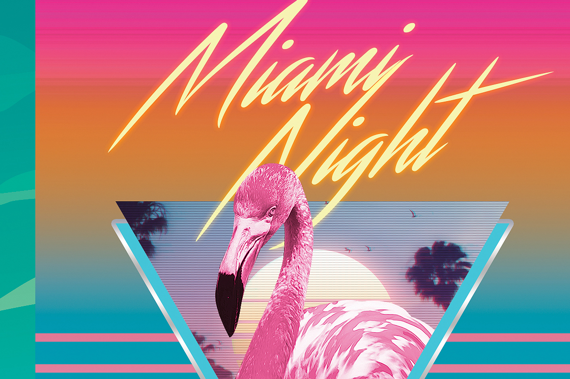 Miami Night 80's Synthwave Flyer Template (25857)   Flyers ...