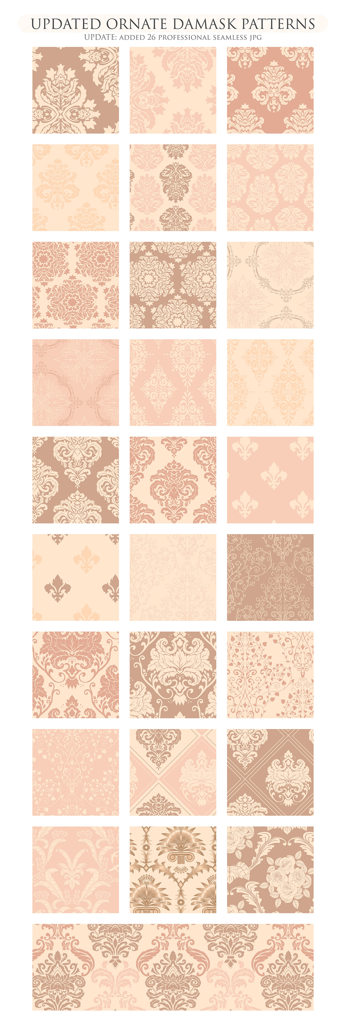 28 Nude Damask Patterns - Wedding Seamless Digital Papers Bundle example image 3