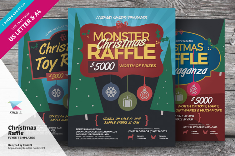 Christmas Raffle Flyer Templates example image 1