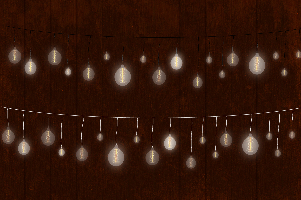 String Lights Clipart, Low Light Bulb, Gold Dreamy Lights example image 3