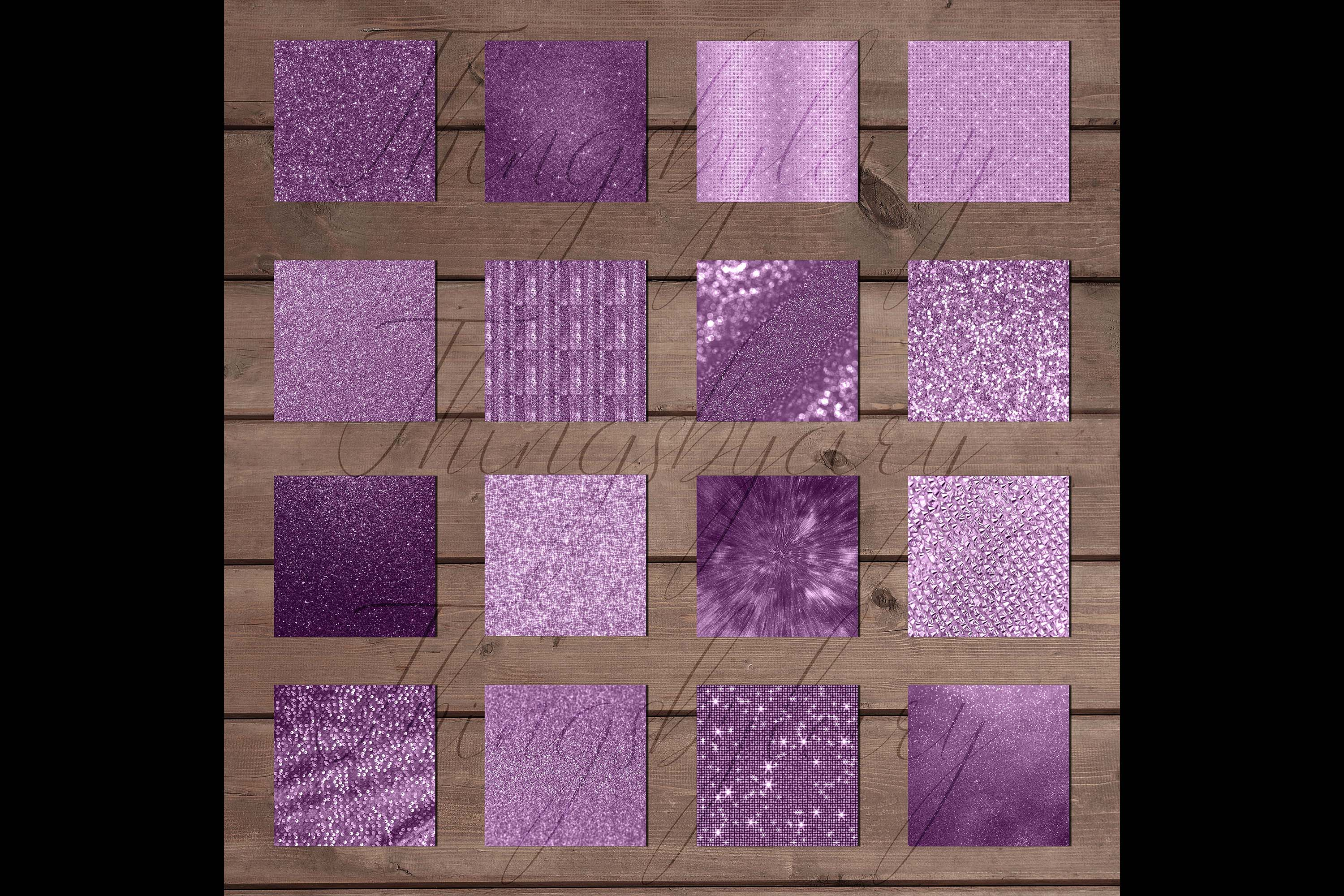 42 Amethyst Plum Purple Lilac Glitter Sequin Digital Papers example image 8