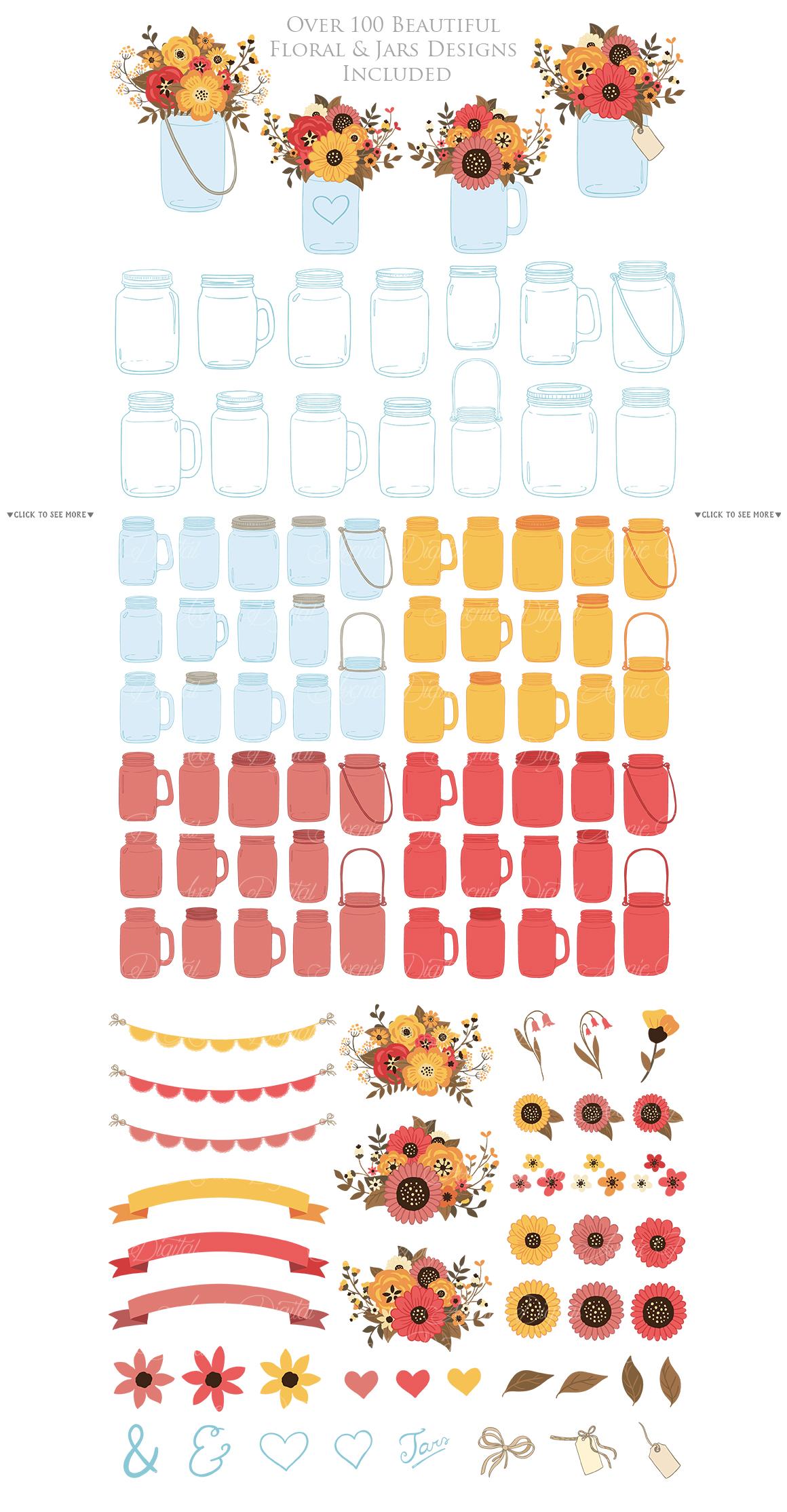 Fall Mason Jar Wedding Clipart - Autumn Wedding Graphics example image 5