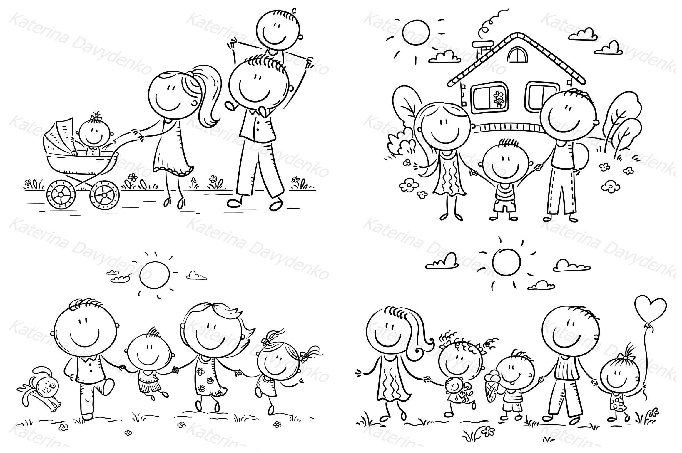 Happy doodle families bundle, vector example image 5