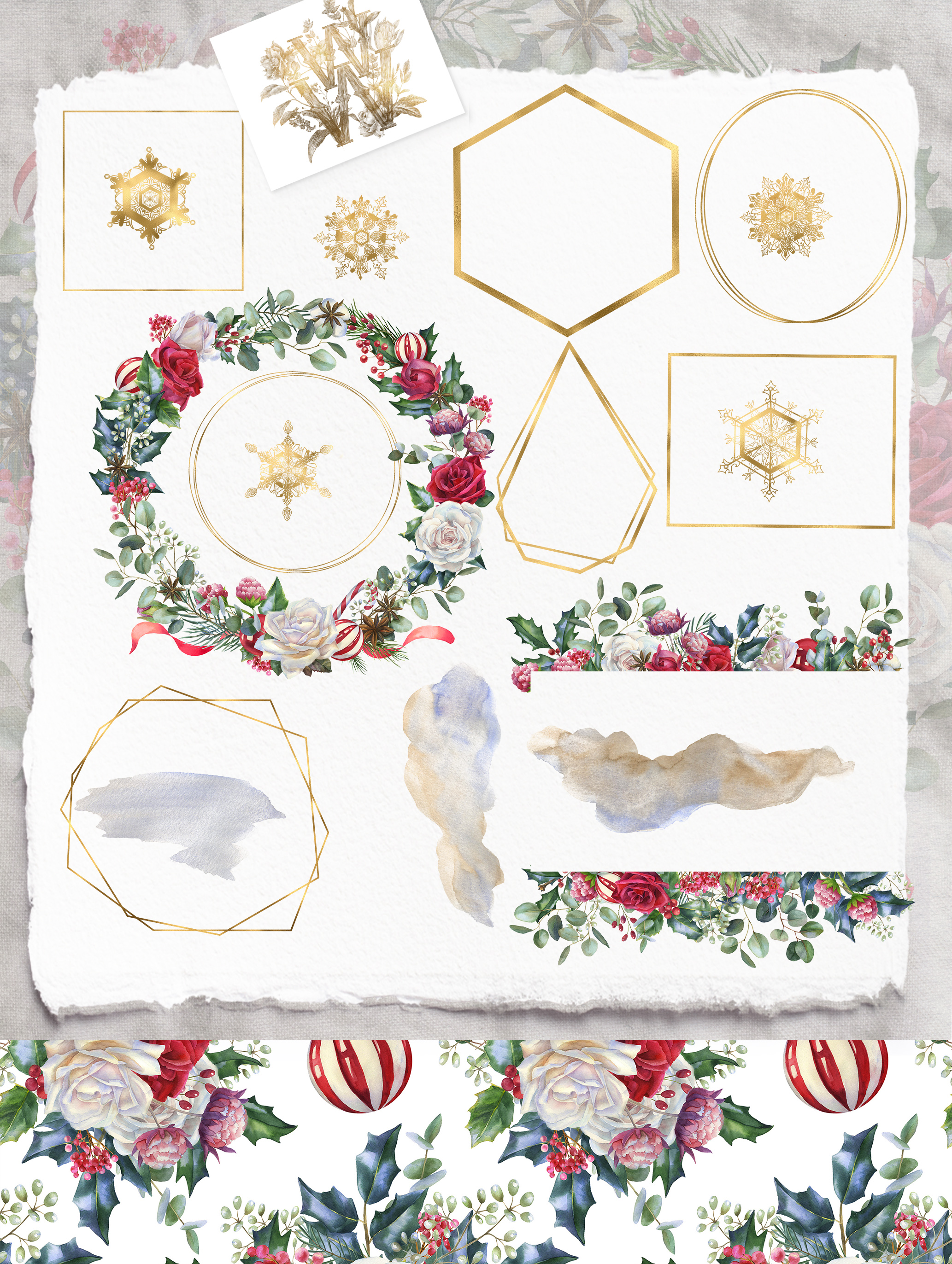 Christmas floral border clipart, Watercolor winter frame example image 3