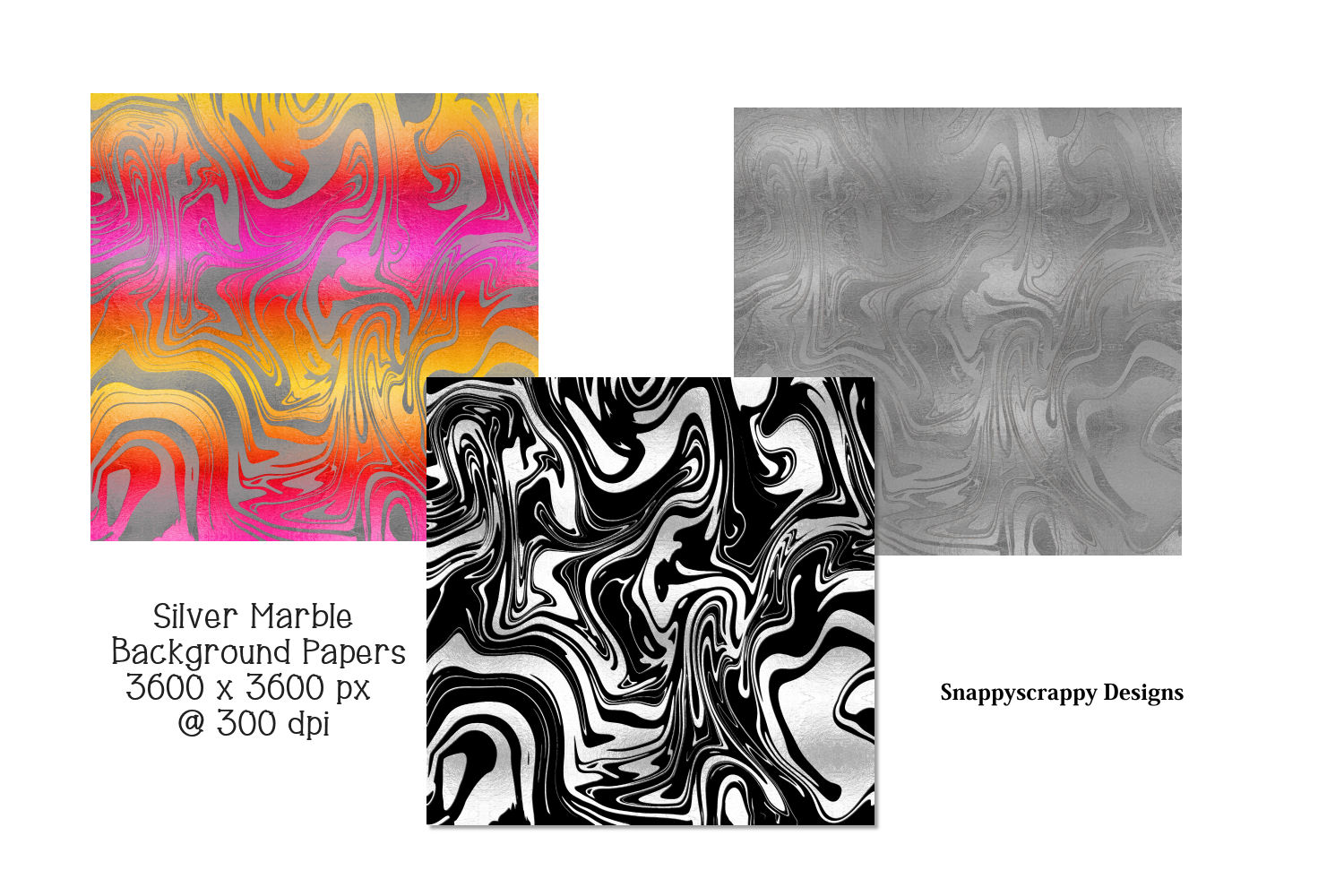Silver Marble Background Papers example image 2