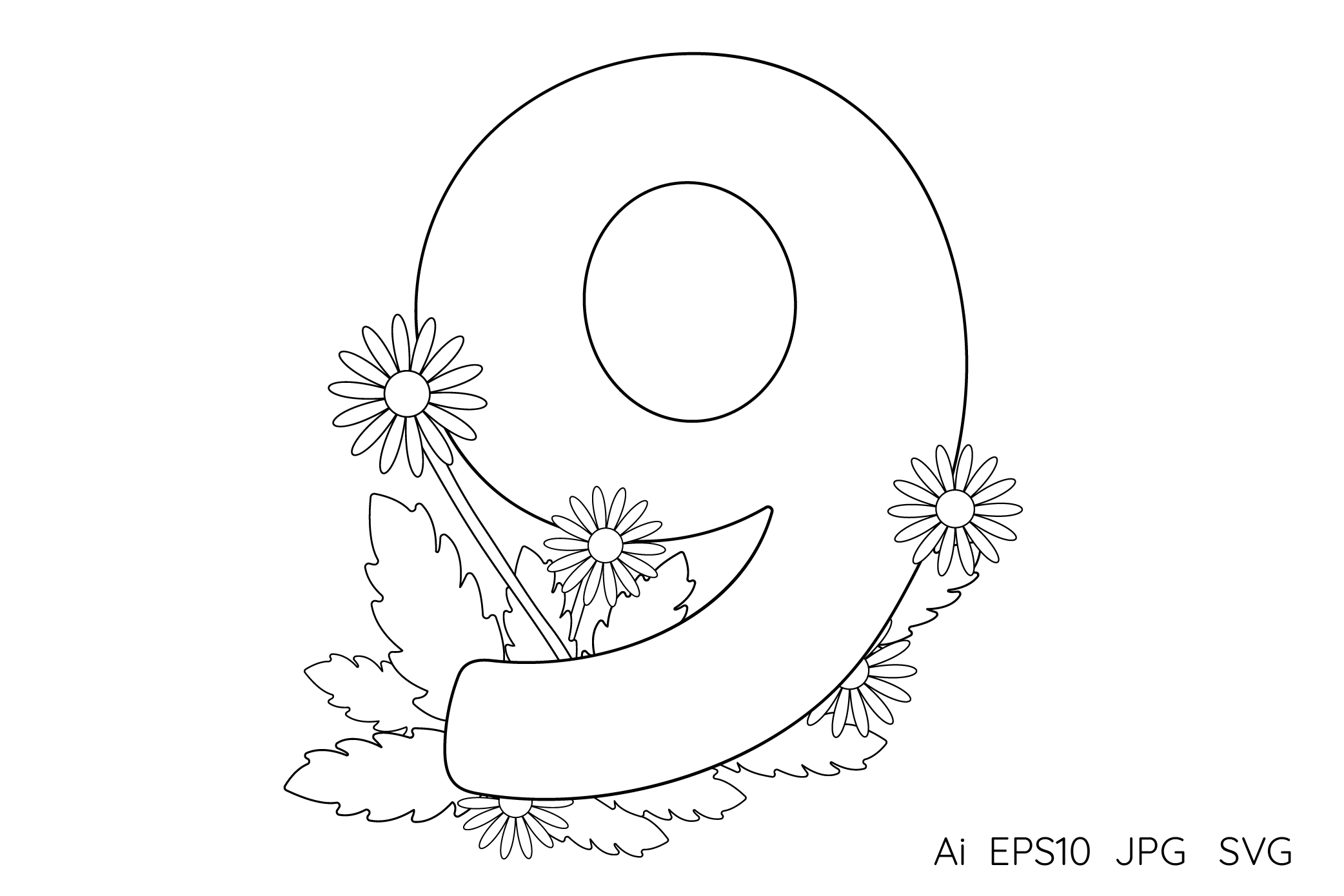 Numbers from 0 to 9. Coloring pages. example image 11