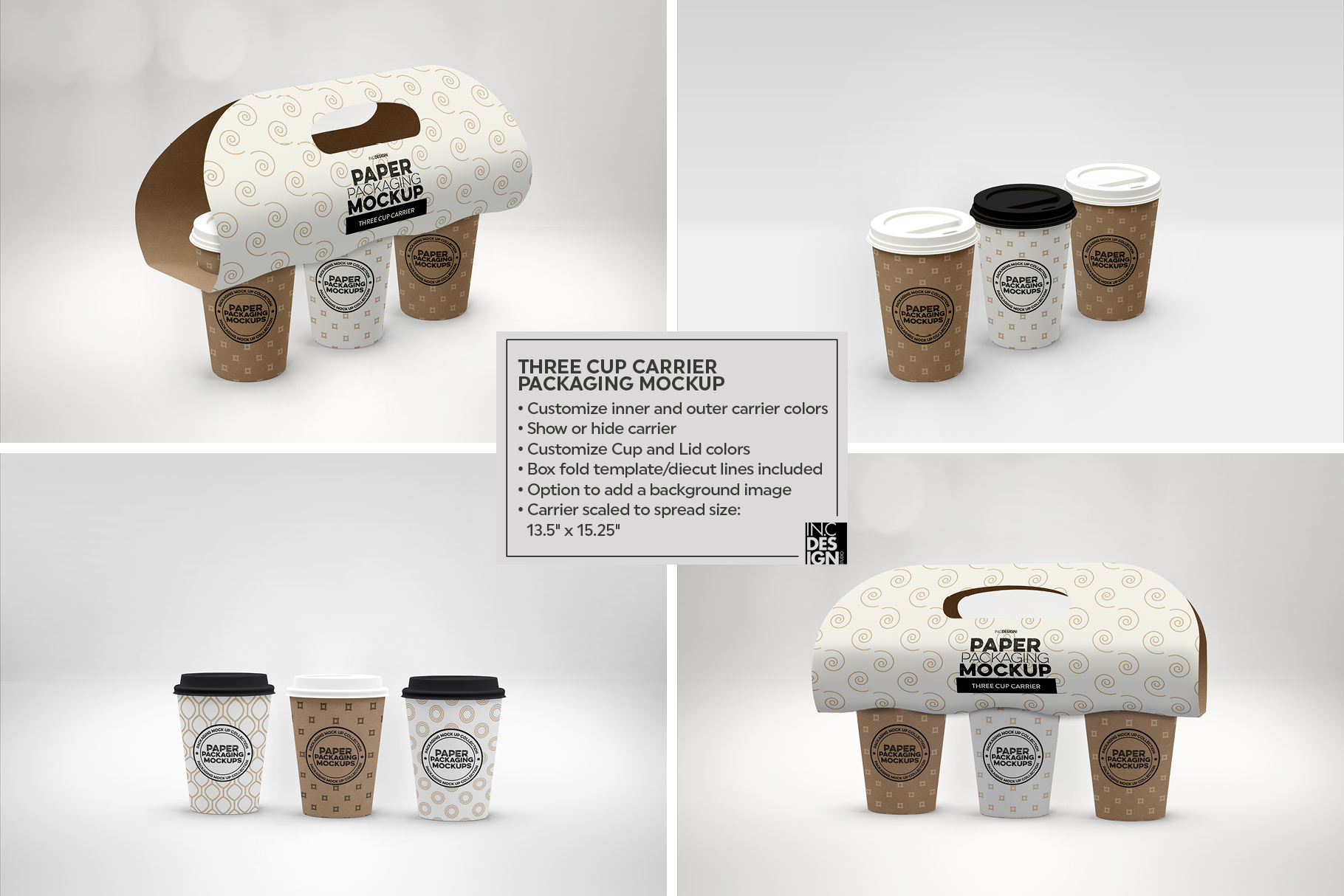 Three Cup Paper Carrier Packaging Mockup example image 3