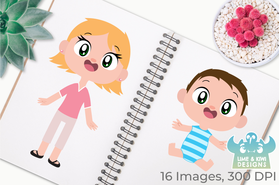 Happy Family 1 Clipart, Instant Download Vector Art example image 3