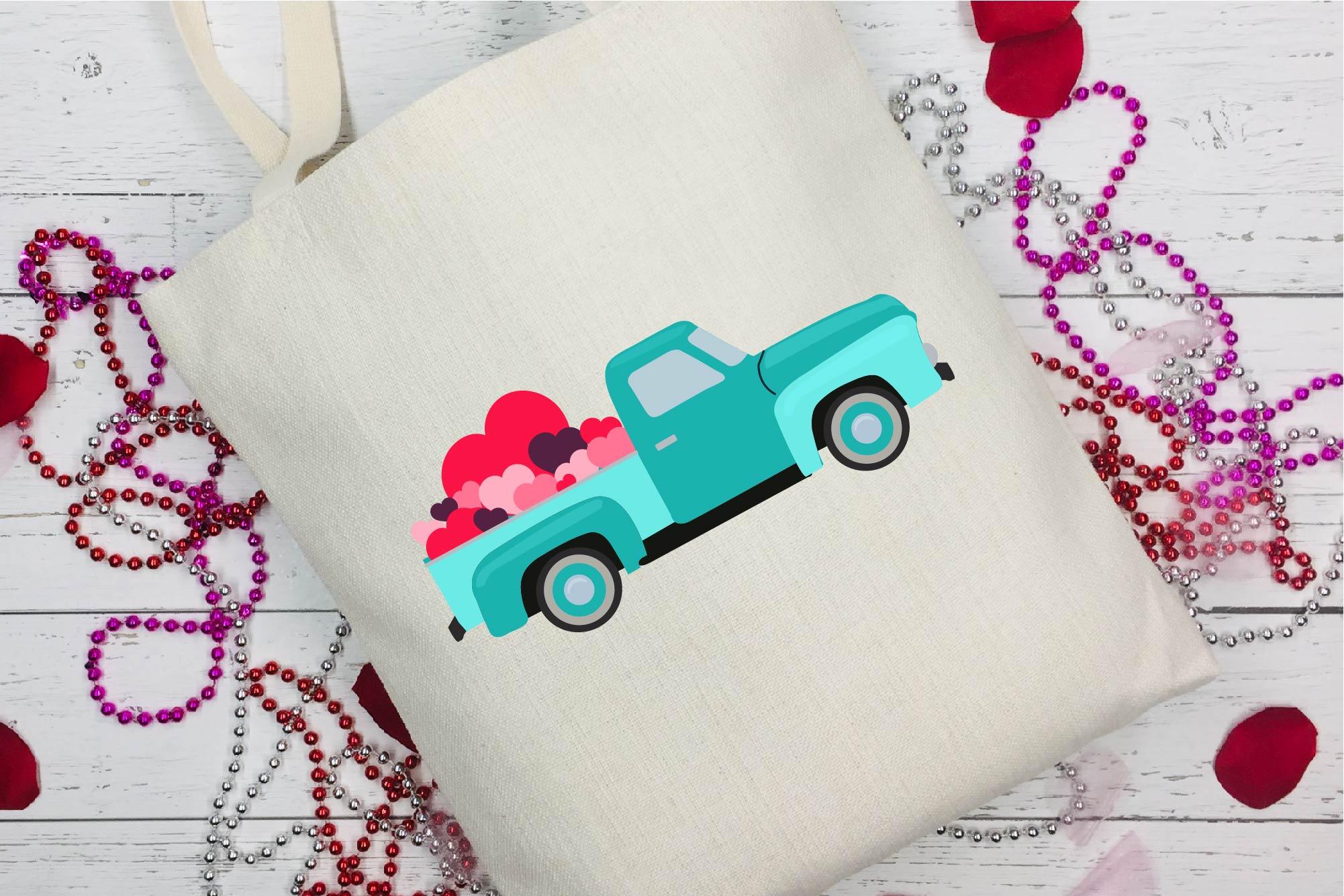 Valentine's Day SVG Valentine Vintage Truck Sublimation example image 1