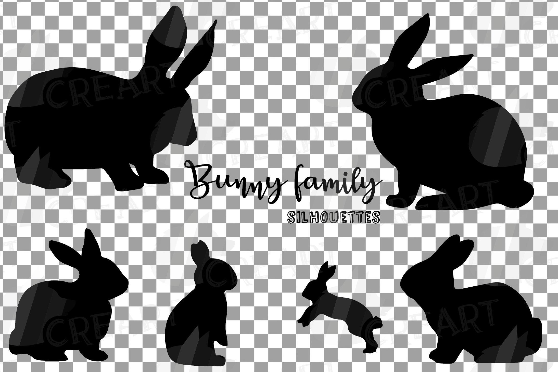 Rabbit family silhouettes, bunny silhouette svg cutting file example image 4
