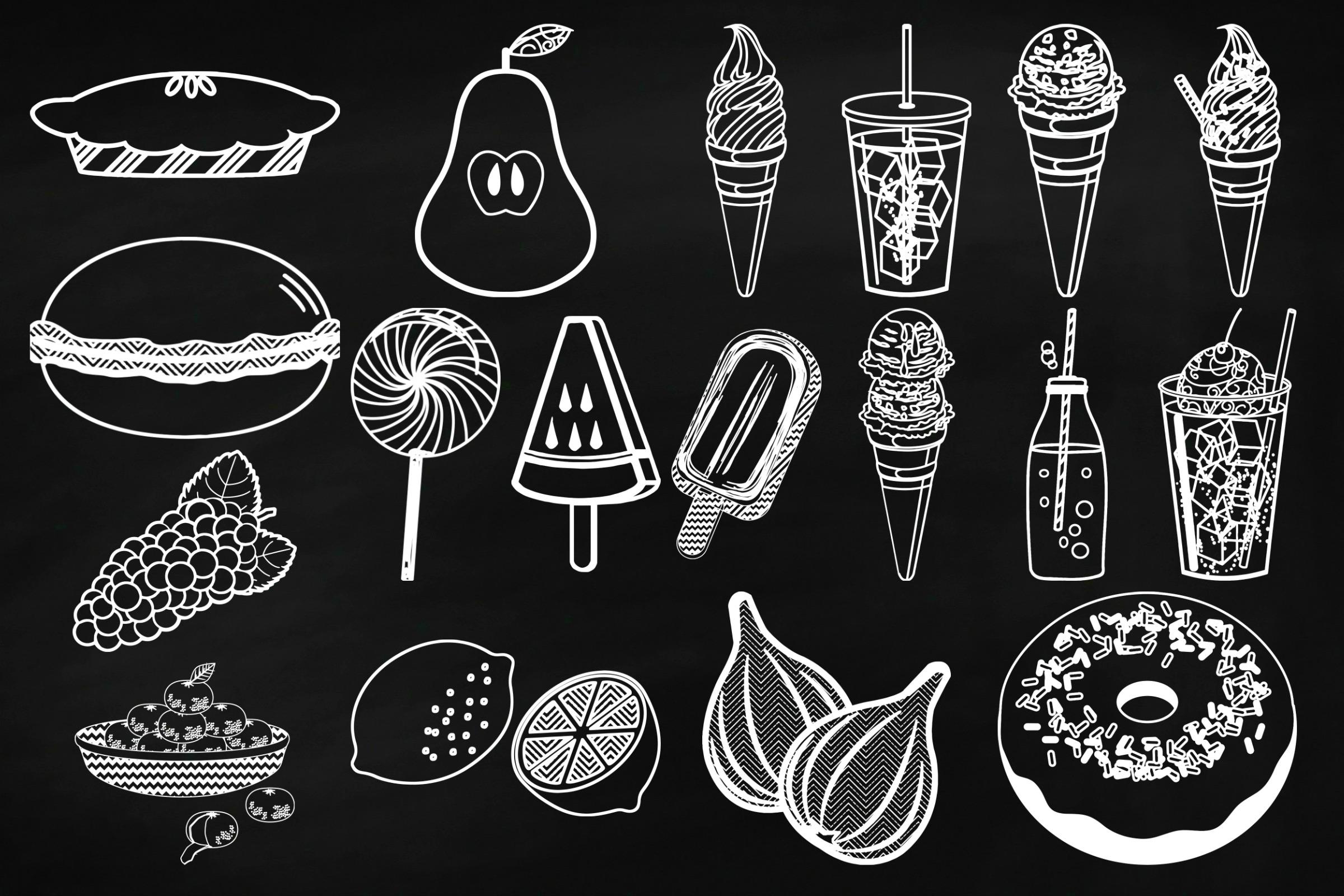 Chalk Sweet Junk Food Doodles Clip Art example image 4