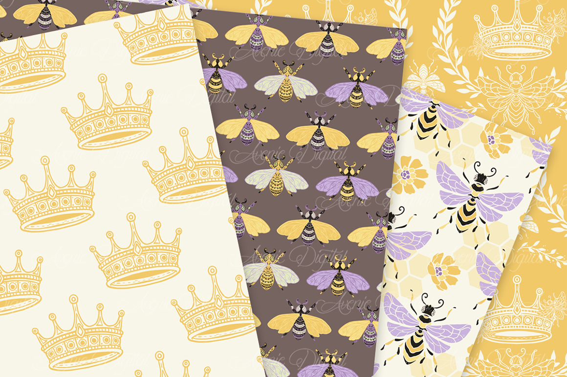 Yellow and Purple Bee Garden Seamless Vector Patterns and Di example image 2
