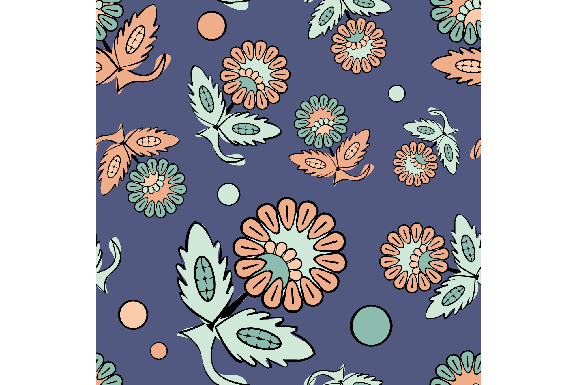 Ethnic boho seamless pattern with decorative flowers. Russian. Print. Cloth design, wallpaper.  example image 1