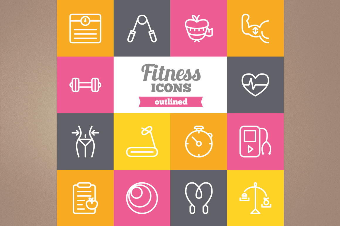 Outlined Fitness Icons example image 1