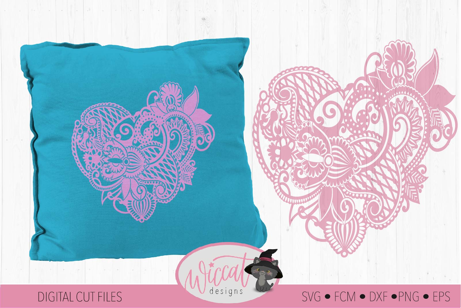 Paisley Heart, valentine doodle heart svg example image 1