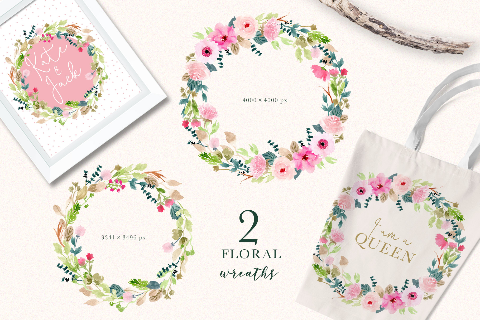 Pink Delight - Watercolor Floral Clipart example image 4