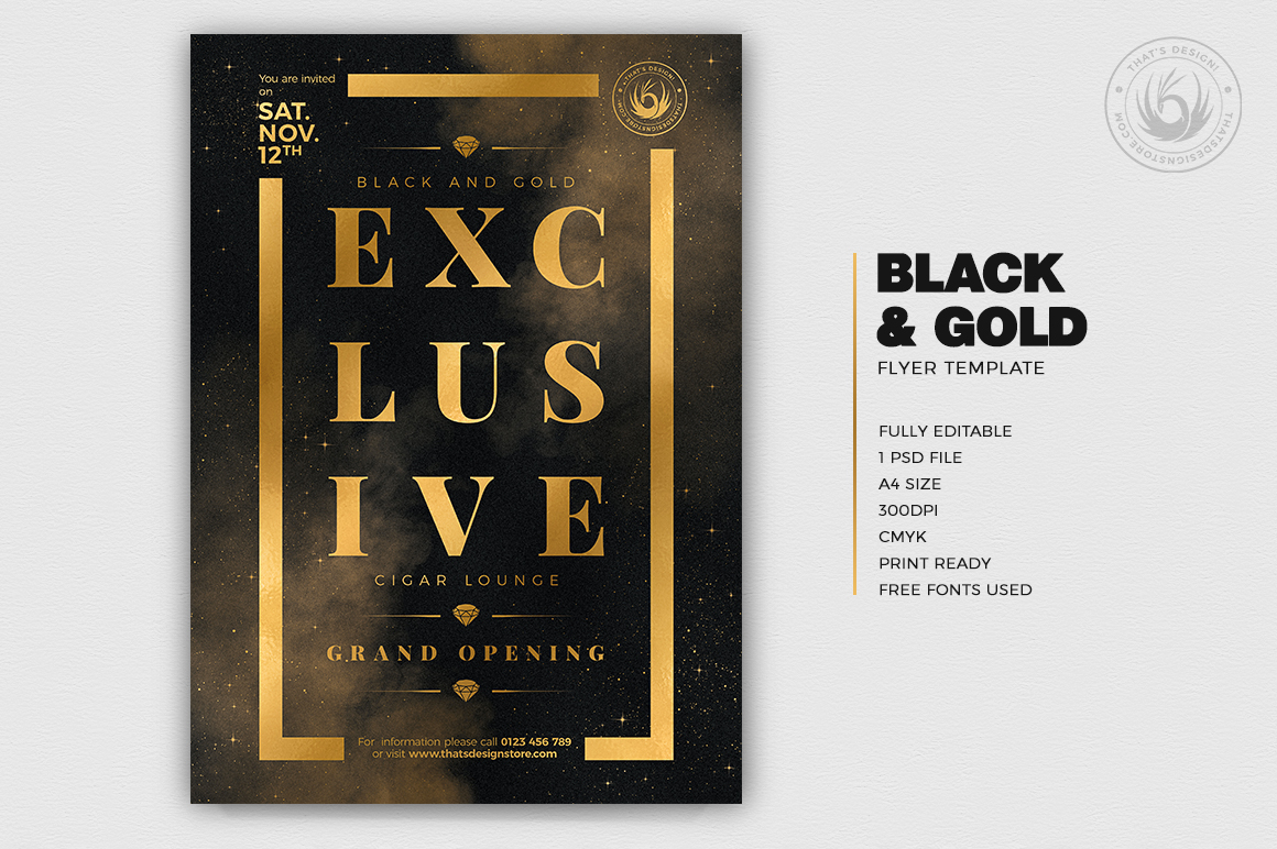 Black and Gold Flyer Template V14 example image 2