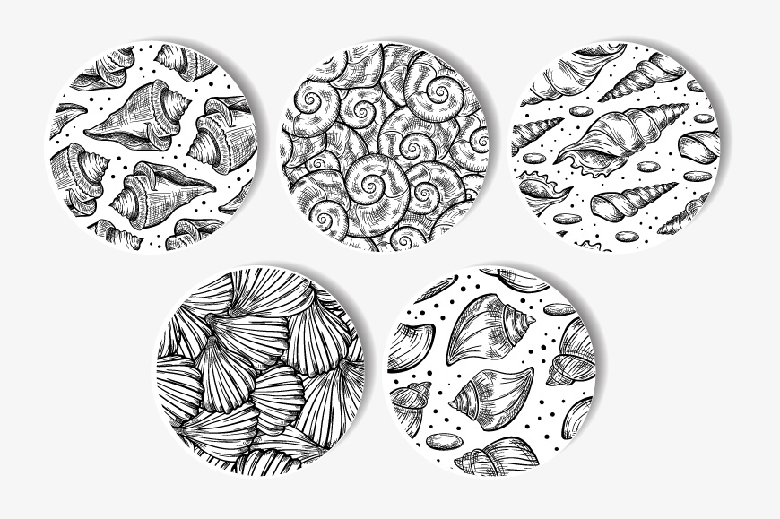 Black and white shells seamless patterns set example image 2