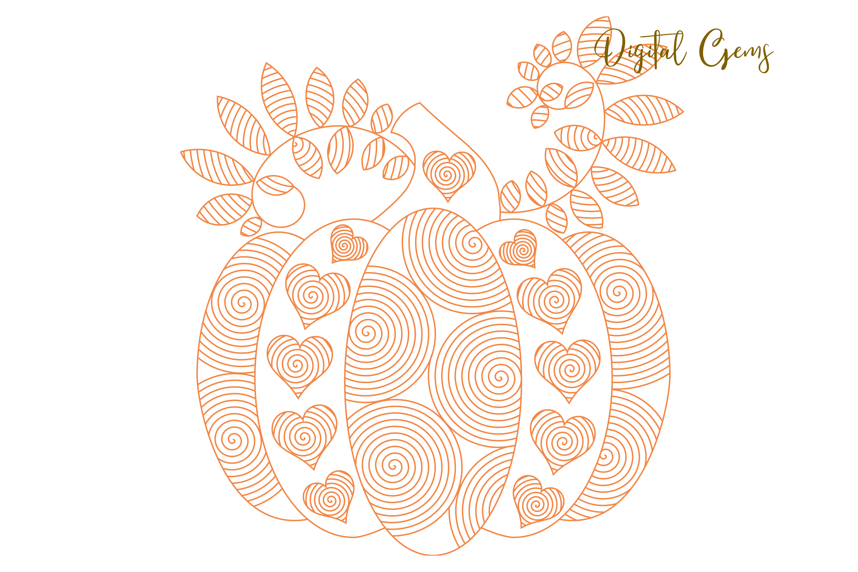 Pumpkin, single line sketch files / foil quill files example image 6