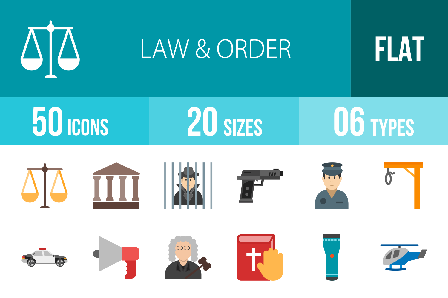 50 Law & Order Flat Multicolor Icons example image 1