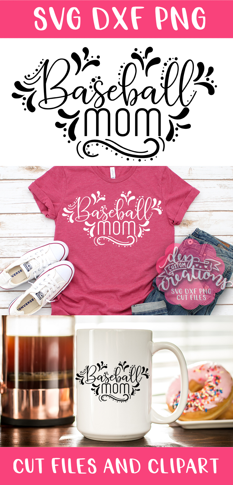 Baseball Mom - SVG DXF PNG digital Cut Files example image 3