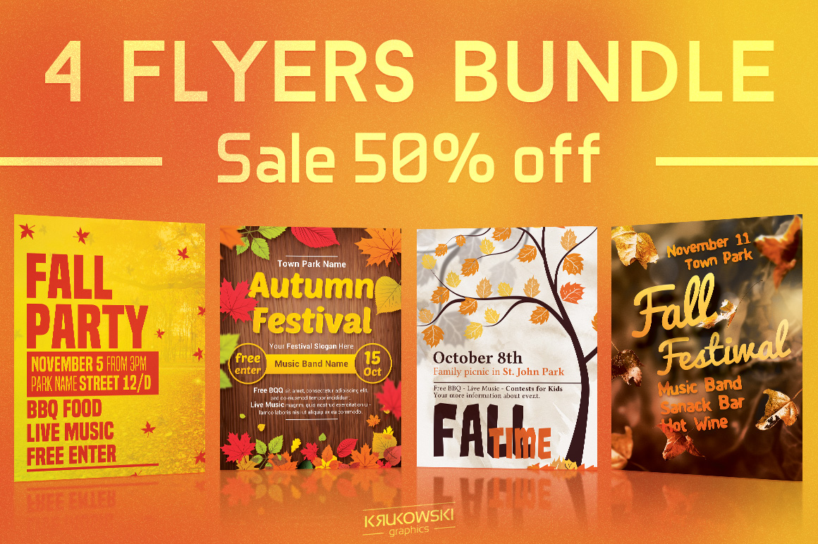 Fall Autumn Flyers Templates example image 1